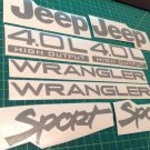 Set of Jeep Wrangler Sport Refresh Vinyl Stickers Decals YJ TJ 4.0L 4.0 L gray