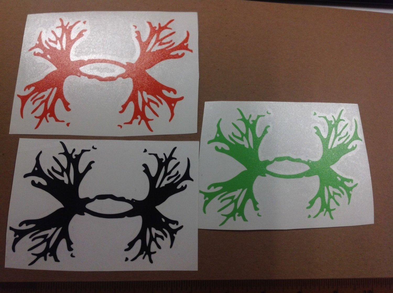 3 * Under Armour/Armor Antlers vinyl decal/sticker Deer Outdoors Hunting