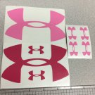 "Under Armour Decal Sticker Vinyl 2 Of 5"" & 6 Of 1.25"" Surfboard Pink /hot Pink"