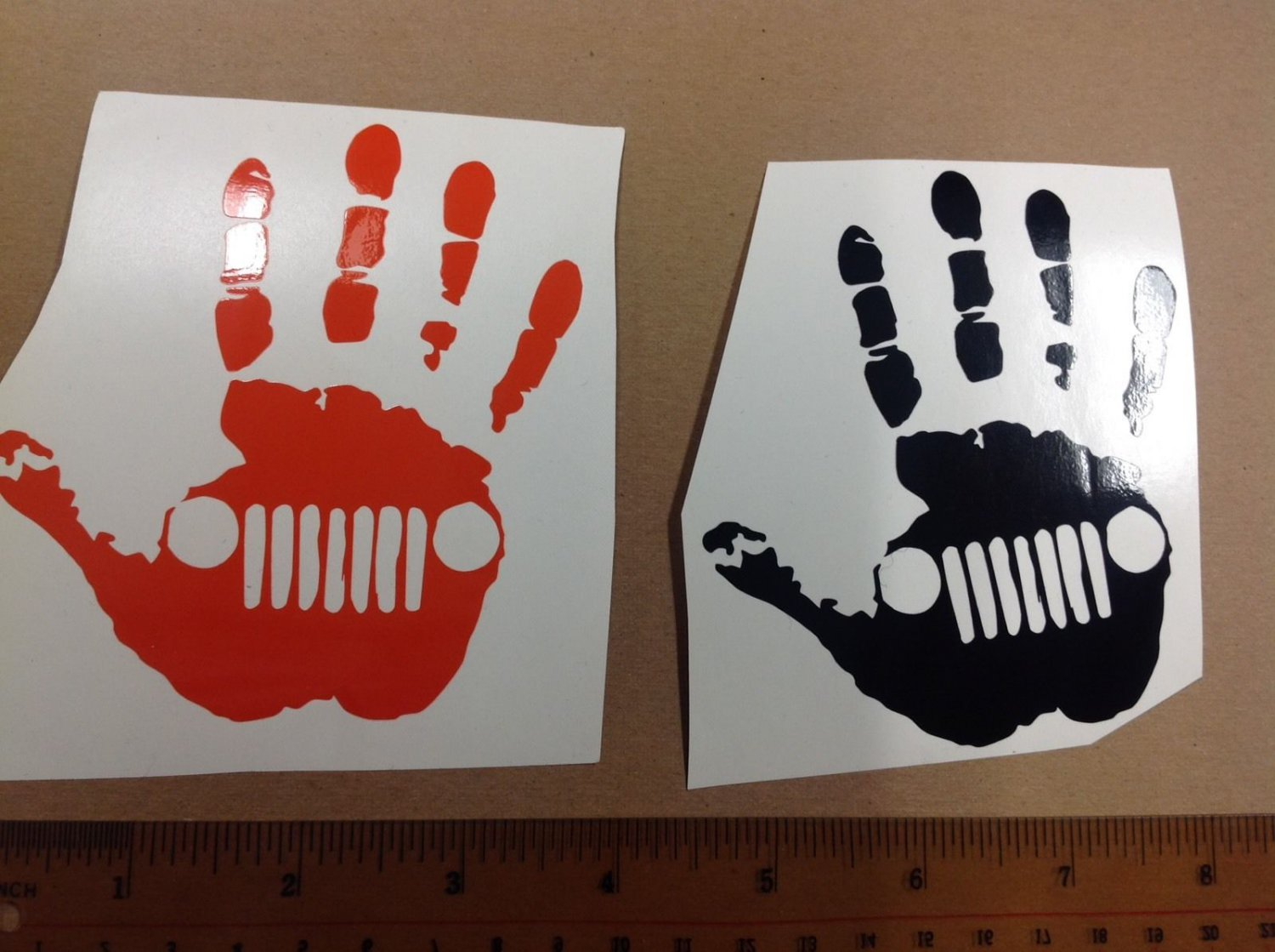 2 Of Jeep wave decal 4.25x3.25 High Quality Sticker Color: Black / Orange