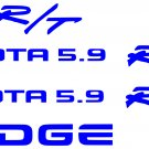 Dodge Dakota RT sticker doors tailgate kit decals stickers 5.9 r/t vinyl decal_Blue