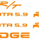 Dodge Dakota RT sticker doors tailgate kit decals stickers 5.9 r/t vinyl decal_Orange