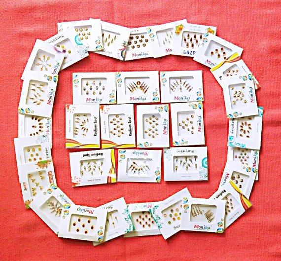 15 Bindi packets of Indian Bindis Stickers /Tattoos Bridal Wedding Fancy bindi, bollywood bindis