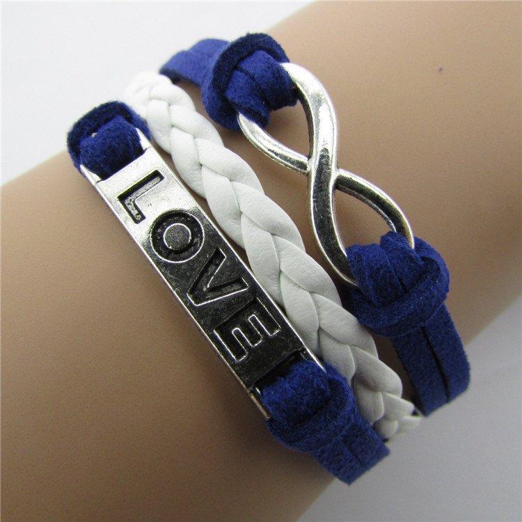 Europen Retro Anchor Love Eight Handmade Infinity Bracelet