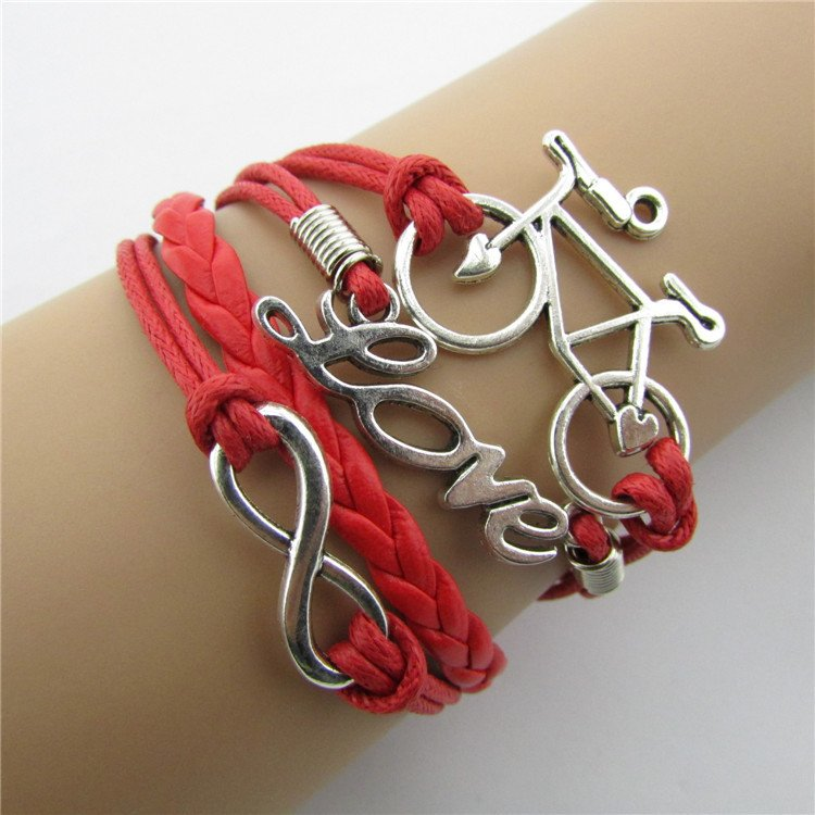 Europen Retro Bike Eight Handmade Infinity Bracelet
