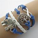 Europen Retro Elephant Handmade Infinity Bracelet