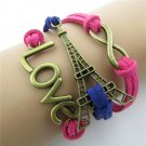 Europen Retro Love Eiffel Tower Handmade Infinity Bracelet