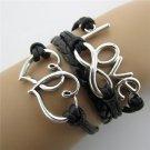 Europen Retro Love Heart Handmade Infinity Bracelet