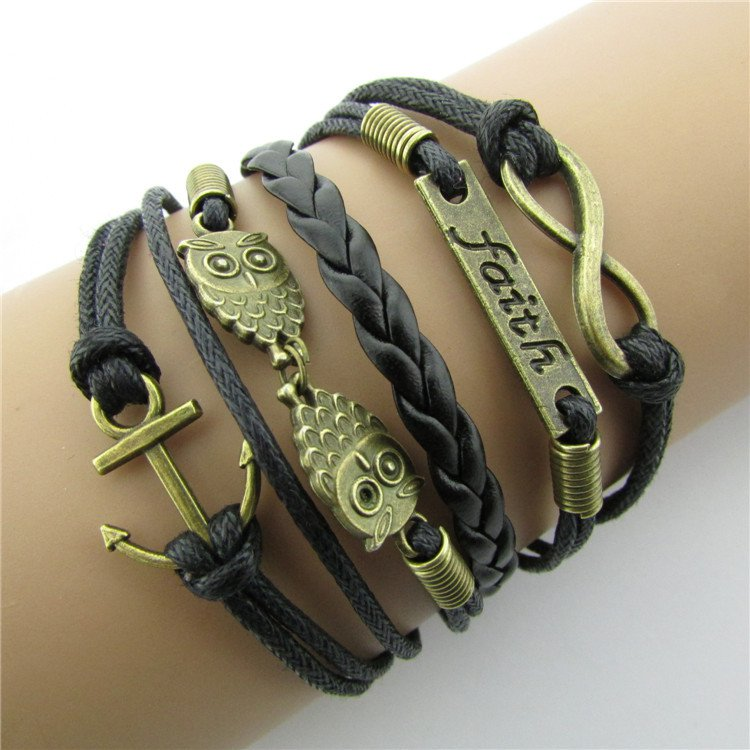 Europen Retro Owl Anchor Romantic Password Handmade Infinity Bracelet