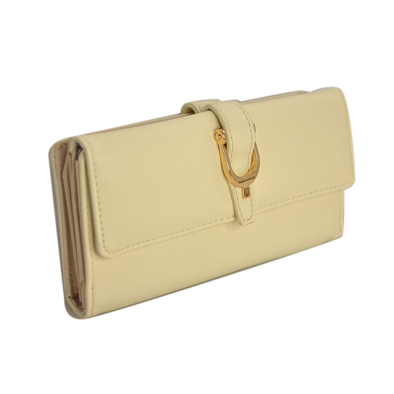 Vintage Style Beige Flap Over Clutch Purse With Metal Buckle Detail