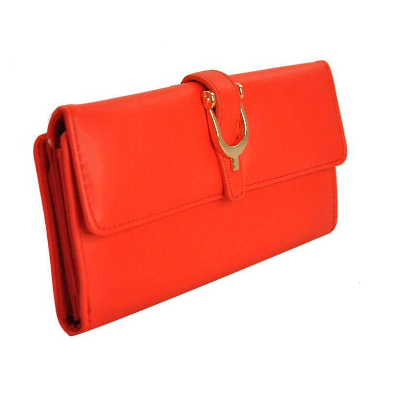Vintage Style Red Flap Over Clutch Purse With Metal Buckle Detail