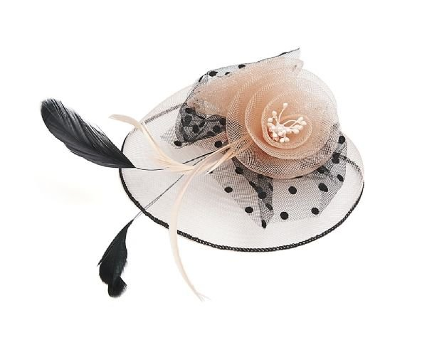 Peach Pink and Black Floral Design Fascinator with Feathers Hair Accessory