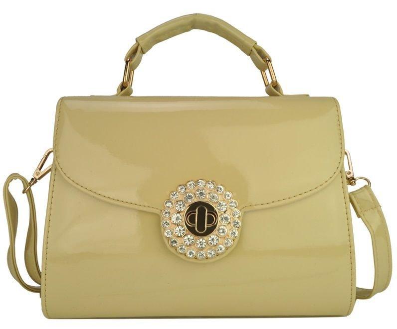 Celebrity Style Cream and Gold Patent Satchel Handbag with Diamante Twist Lock