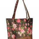 Coffee Vintage Style Rose Flower Print Shopper Handbag with Purse