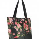 Black Vintage Style Rose Flower Print Shopper Handbag with Purse