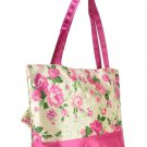 Pink and Beige Vintage Style Rose Flower Print Shopper Handbag with Purse