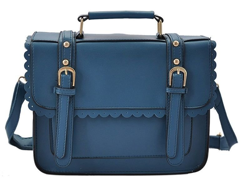 Blue Satchel Fashion Handbag Scallop and Buckle Detail Double Fronted Design