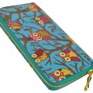 Designer Inspired Owl Print Zip Around Clutch Purse in Ocean Blue UK Stock