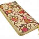 Designer Inspired Owl Print Zip Around Clutch Purse in Beige UK Stock
