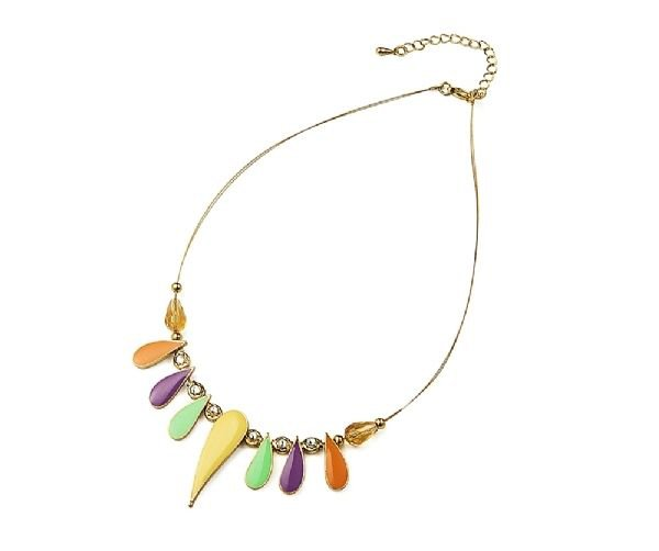 Spring Fashion  Designer Inspired Pastel Coloured Enamel Droplet Necklace