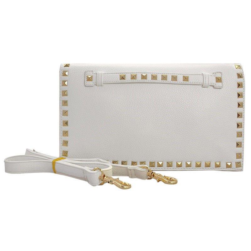 White With Gold Stud Frame Embellished Clutch Handbag + FREE GIFT