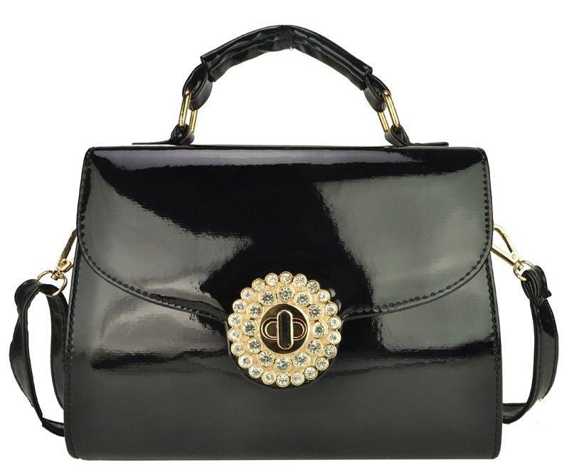 Black and Gold Patent Satchel Handbag with Diamante Twist Lock + FREE GIFT
