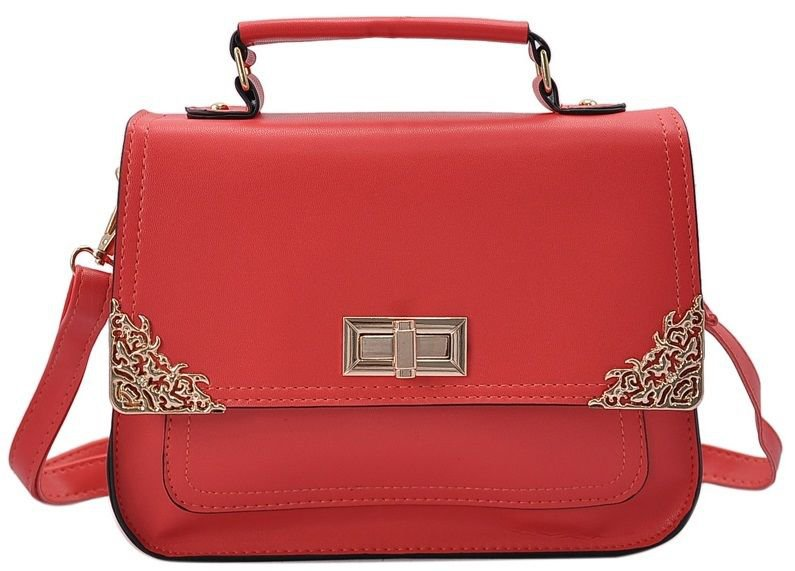 Designer Inspired Red Satchel Handbag with Metal Detail Embellishments