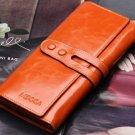 Leather wallet for women. Long designer multi-card wallet holder women leather genuine purse.
