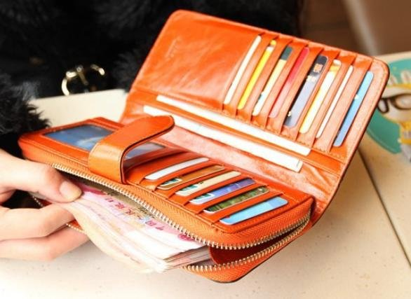 wallet for women, 100% Oil Waxing Genuine Leather
