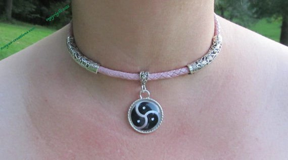 BDSM Day Collar with silver tube accents and triskelion pendant N27