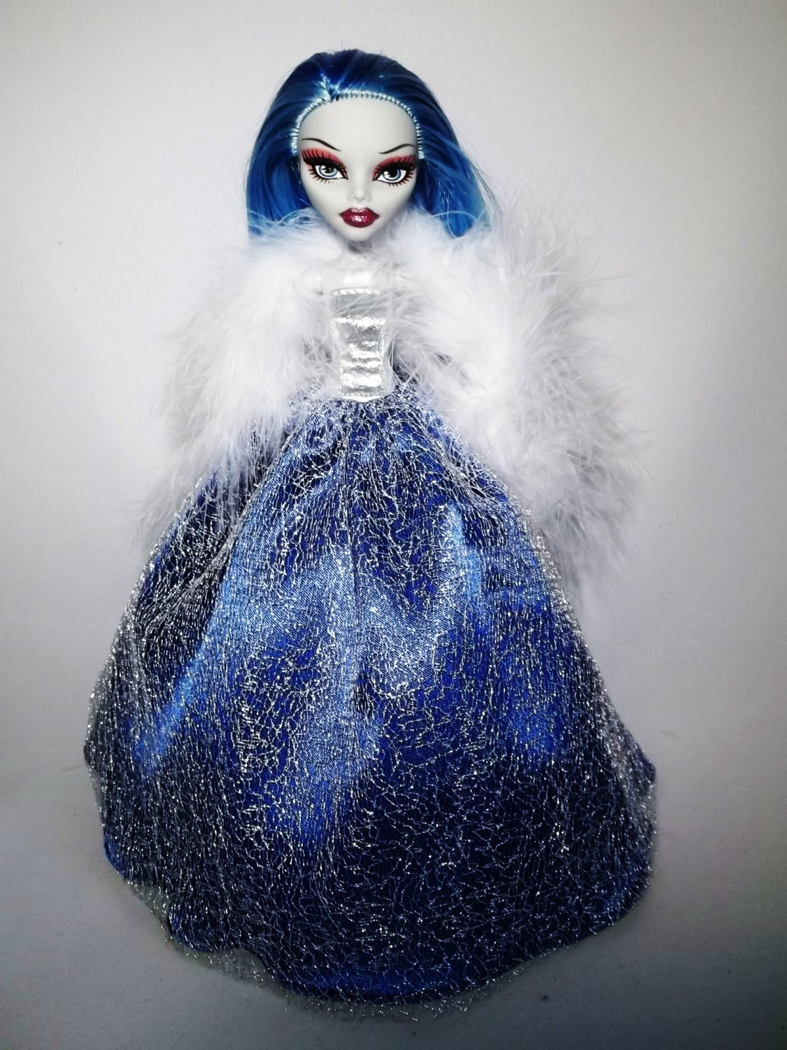 Handmade Monster High Dress Gown Blue Silver mesh with Boa