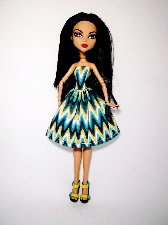 Handmade Monster High Doll Dress Strapless Swirl