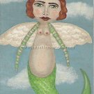 Flying Mermaid Print by Suzette M. Morgan