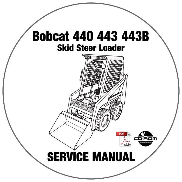 Bobcat Skid Steer Loader 440 443 443B Service Manual CD