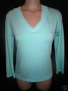 Cosabella Aqua Blue Long Sleeve V Neck Lace Trim Top M NWT