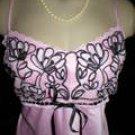 Flora Nikrooz Pink & Black Satin Long Sleep Dress L NWT