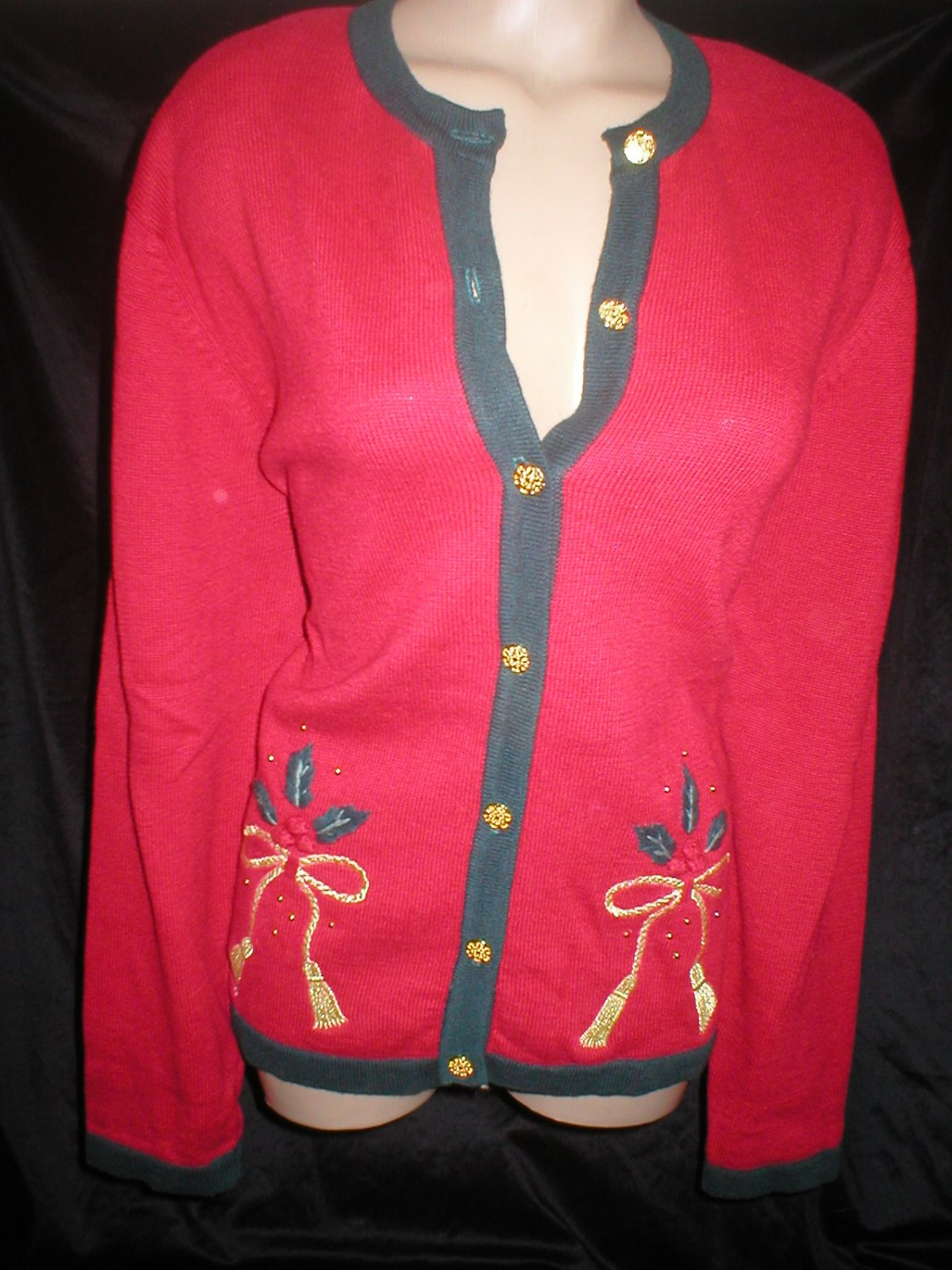 Leslie Fay Red & Gray Knit Cardigan Christmas Sweater M 10
