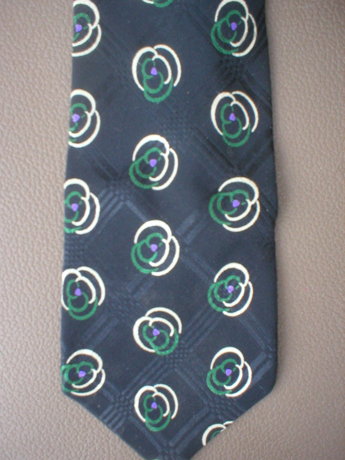 Ralph Lauren Polo Men's Black, Ivory,Green Print Silk Tie