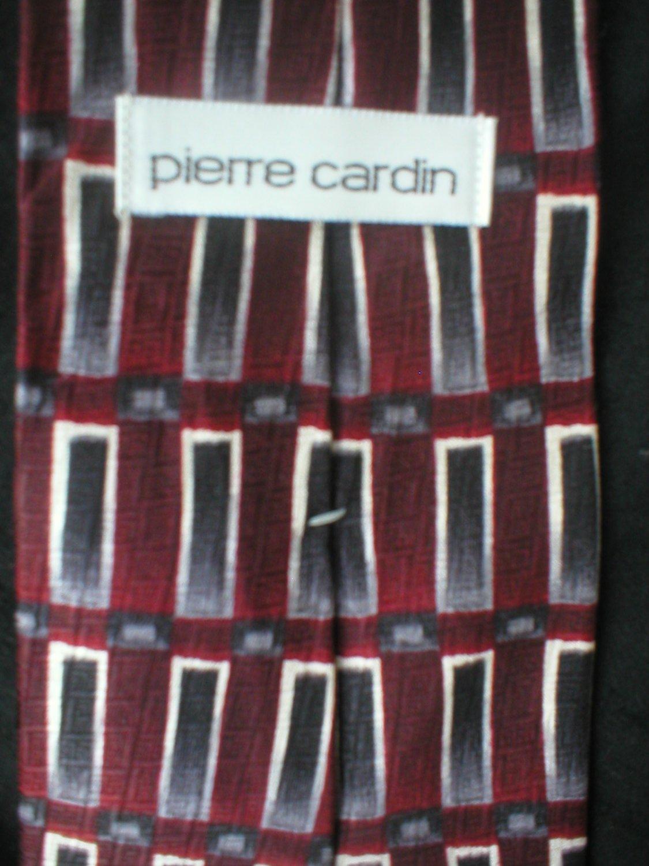 Pierre Cardin Men's Red, white,black,grey Print Silk Tie