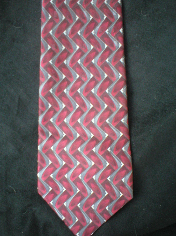 Arrow Men's Red, Gray & Cream Print Silk Tie