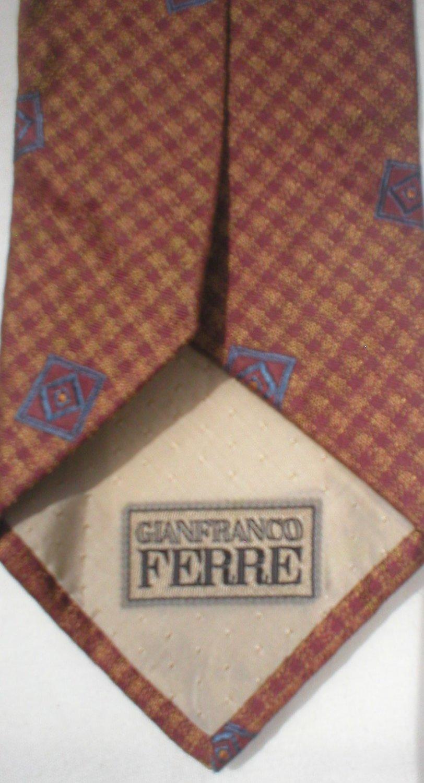 Gianfranco Ferre Gold, Red, Blue Print Silk Men's Business Tie