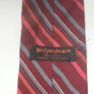 Yves Saint Laurent Red, Gray, White Striped Silk Men's Business Tie
