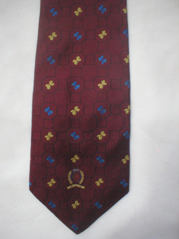 Tommy Hilfiger Burgundy, Blue & Gold Print Silk Men's Business Tie