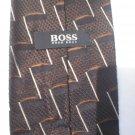 Hugo Boss Brown & Black Print Silk Men's Business Tie