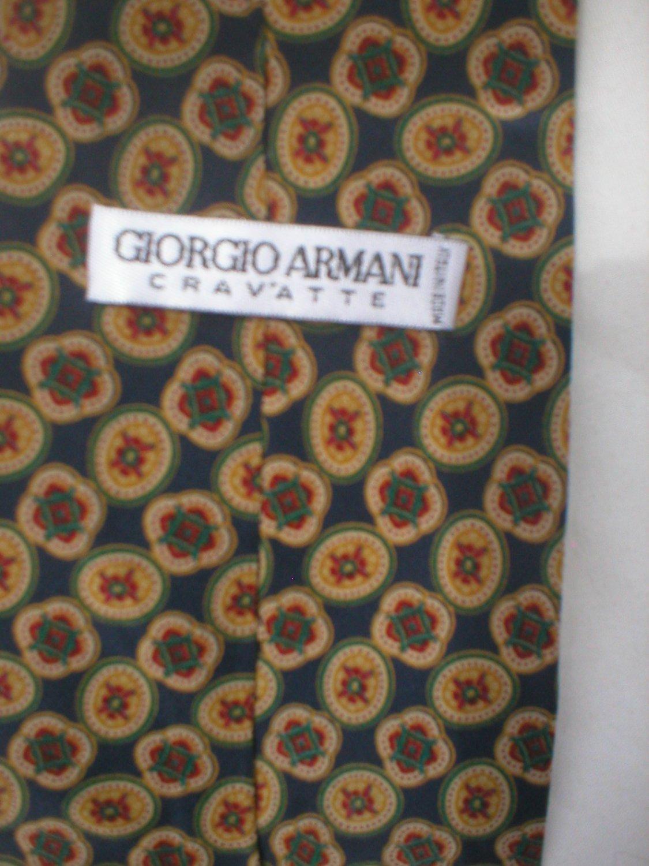 Giorgio Armani Blue & Tan Print Silk Men's Business Tie