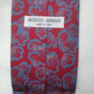 Giorgio Armani Red & Blue Print Silk Men's Business Tie