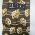 Picone Gray, Blue, Tan Print Silk Men's Business Tie