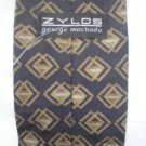 Zylos Gray & Taupe Print Silk Men's Business Tie