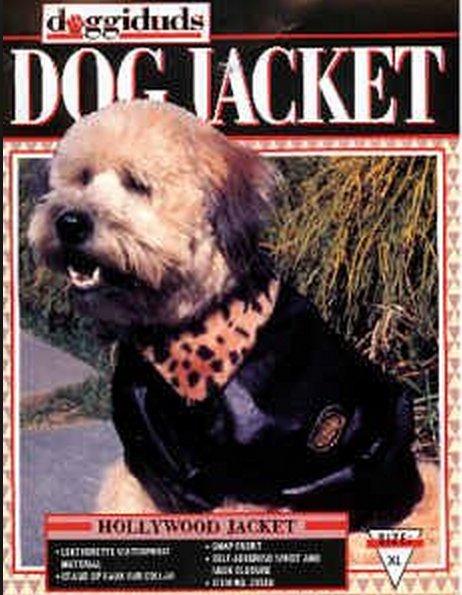 Doggiduds Black Faux Leather Hollywood Dog Jacket XL NWT