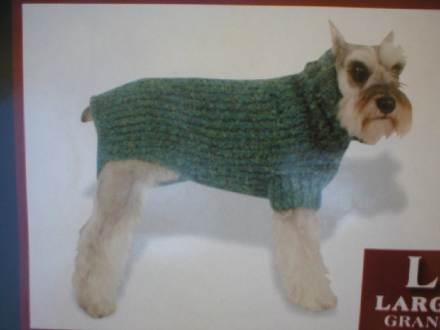 Vo Visionz Blue & Green Nubby Loop Knit Dog Sweater L NWT